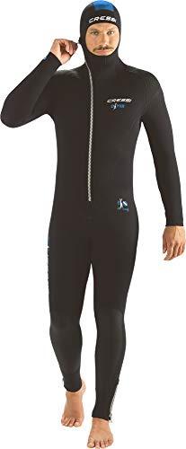 Cressi Herren Diver Man Monopiece Wetsuit Premium Neopren Tauchanzug mit Angesetzter Haube – Erhältlich in 5/7 mm, Schwarz/Blau, S/2 (5 mm)