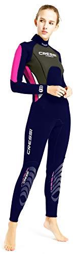 Cressi Damen Morea Lady Wetsuit Full 3mm, Rosa/Blau/Silber, 3XL