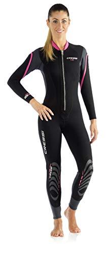 Cressi Damen Lei All-in-one Wetsuit Einteiliger Neoprenanzug für Frauen aus Neopren 2,5 mm, Schwarz/Grau/Rosa, XS/1